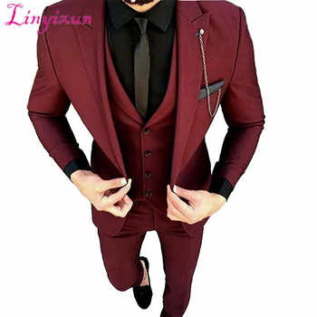 Linyixun Burgundy Wedding Suits For Men Black Shawl Lapel Blazer Masculino Slim Fit Tuxedo Suit Men 2 Piece Mens Suits With Pant