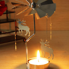 Wholesale Spinning Rotary Metal Carousel Tea Light Stand Candle Holder Romantic Wedding Home Decoration Color