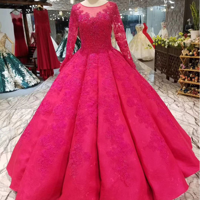 Elegant Red Long Sleeve Ball Gown Prom Dresses 2018 Fashion Sheer ...