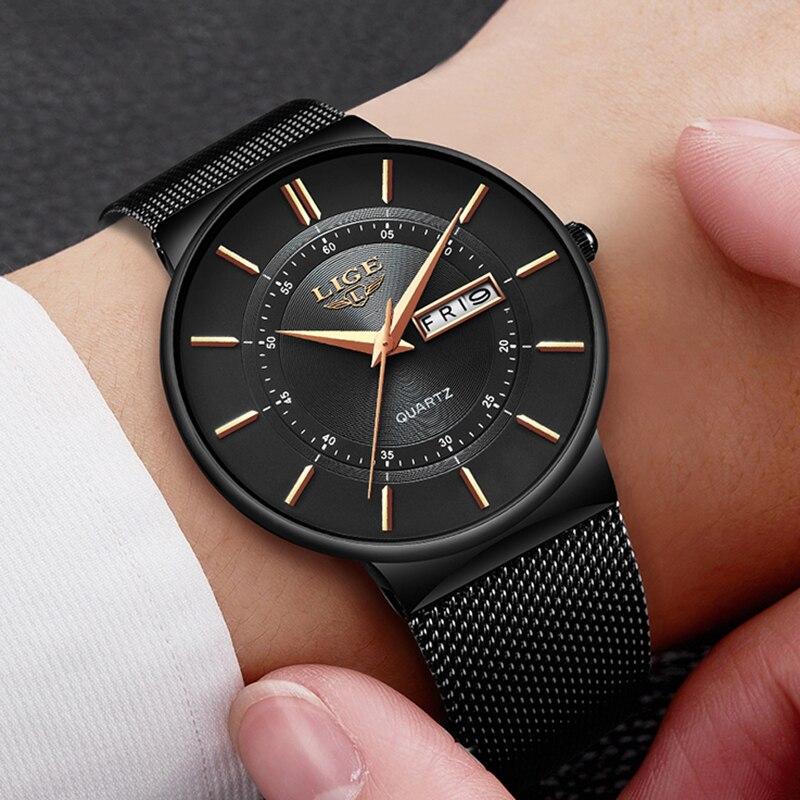 LUIK Heren Horloges Top Brand Luxe Waterdichte Ultra Dunne Datum Klok Mannelijke Stalen Band Casual Quartz Horloge Mannen Sport horloge-in Quartz Horloges van Horloges op  Groep 1