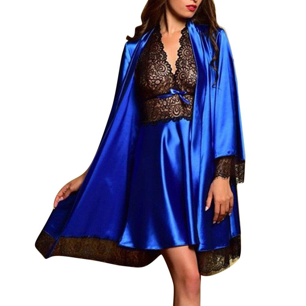 2019 2pcs Women Sexy Satin Lace Sleepwear Babydoll Lingerie Nightdress Pajamas Set lingerie pyjamas women lingerie Hot Sale 37