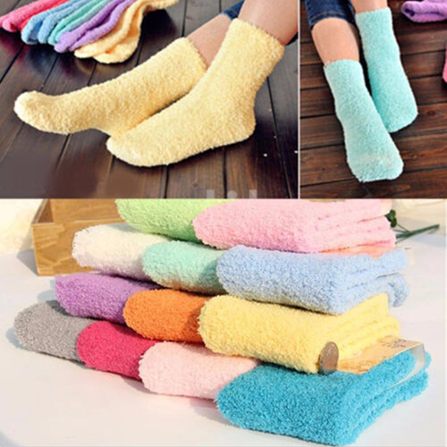 Fashion Pair Women Candy Color Winter Socks Coral Fleece Bed Sleep Socks