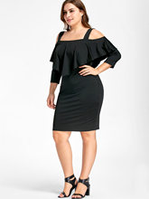 Knee Length Fitted Dress Overlay Cold Shoulder Sheath Dress Plus Size XL-5XL