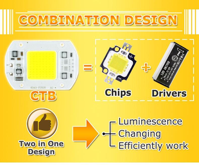 COB LED Lamp Chip 10W 15W W 30W 50W LED COB Bulb Lamp 2V IP65 Smart IC Driver Cold/ Warm White LED Spotlight Floodlight 6