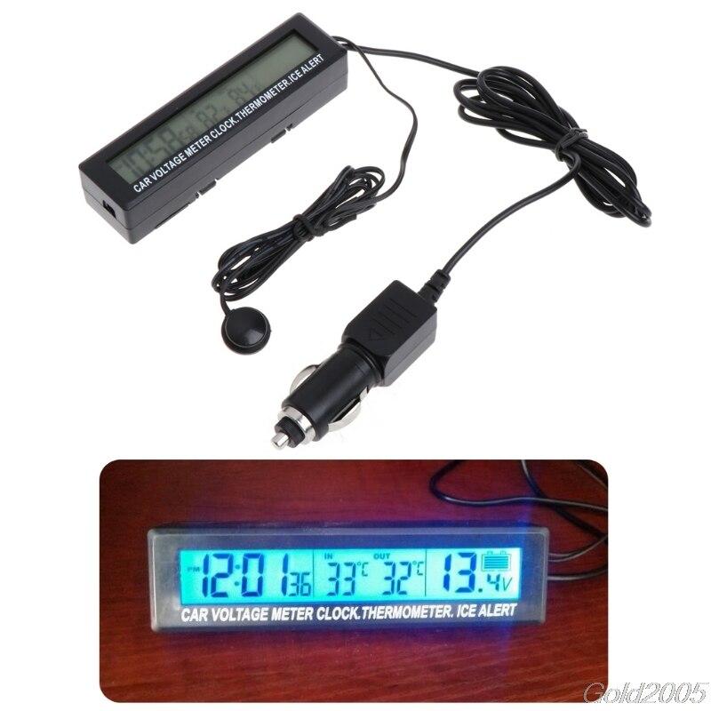 Digital LCD Clock Car Voltmeter Thermometer Battery Voltage Temprerature Monitor 12V/24V G08 Drop ship 3 in 1 multifunctional car digital voltmeter usb car charger led battery dc voltmeter thermometer temperature meter sensor