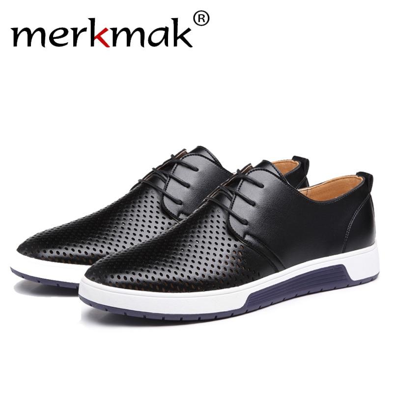 Merkmak Luxury Brand Primavera Estate Fori Traspiranti Uomini Scarpe di Cuoio Casuali Alla Moda Uomo Appartamenti Caviglia Scarpe Trasporto di Goccia