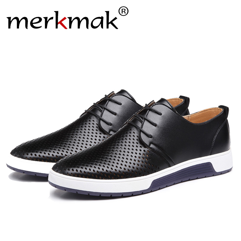 Merkmak Luxury Brand Spring Summer Breathable Holes Men Shoes Casual Leather Fashion Trendy Men Flats Ankle Shoes Drop Shipping men trendy breathable leather casual shoes
