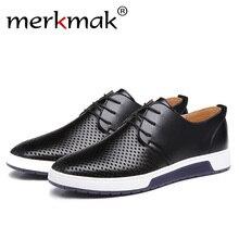 Merkmak/люксовый бренд, весна-лето, дышащая мужская обувь с отверстиями, повседневная кожаная модная мужская обувь на плоской подошве, ботильоны, Прямая поставка