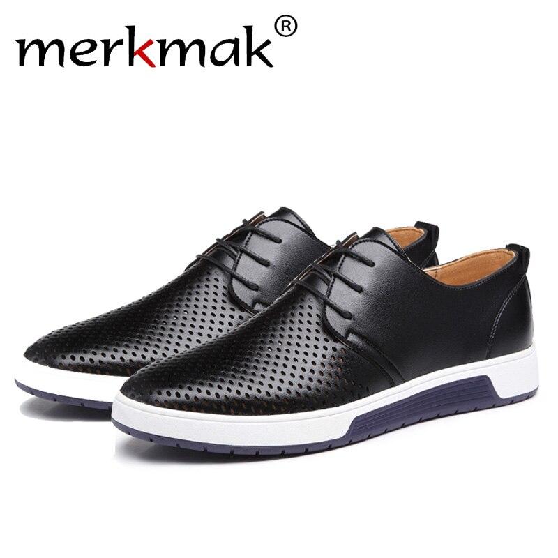 Merkmak marca de lujo Primavera Verano agujeros transpirables hombres zapatos de cuero Casual moda hombres planos zapatos de tobillo Envío Directo