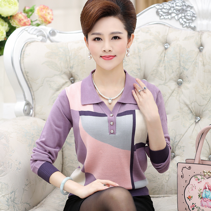 2019 In the elderly women s long sleeved sweaters lapel mothers shirt shirt spring and summer
