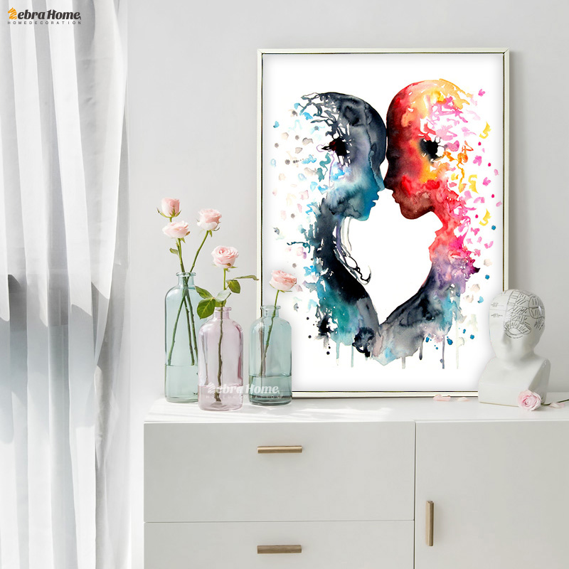 Original Watercolor Love Canvas Painting Wall Art Poster And Prints Pictures Living Room Home Decor Wedding Gifts Love Couple
