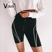 Women High Waist Black Fitness Zipper Bike Short Leggings Fashion Ladies Push Up Spandex Pants Workout Stretch Cycling Leggings acacia 0297003 men s stylish cozy dacron spandex cycling pants black l