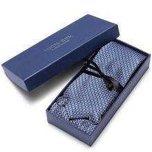 Gift box packing men brand luxury necktie pocket square wedding mens neck ties silk tie set cufflinks handkerchief Ties