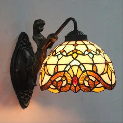 Stained Glass Lampshade Tiffany Mermaid Wall Lamp Vintage Home Bedroom Bedside  Decor Lighting Sconce E27 90-260V tiffany shell vintage stained glass iron mermaid wall lamp indoor lighting bedside lamps wall lights for home ac 110v 220v e27