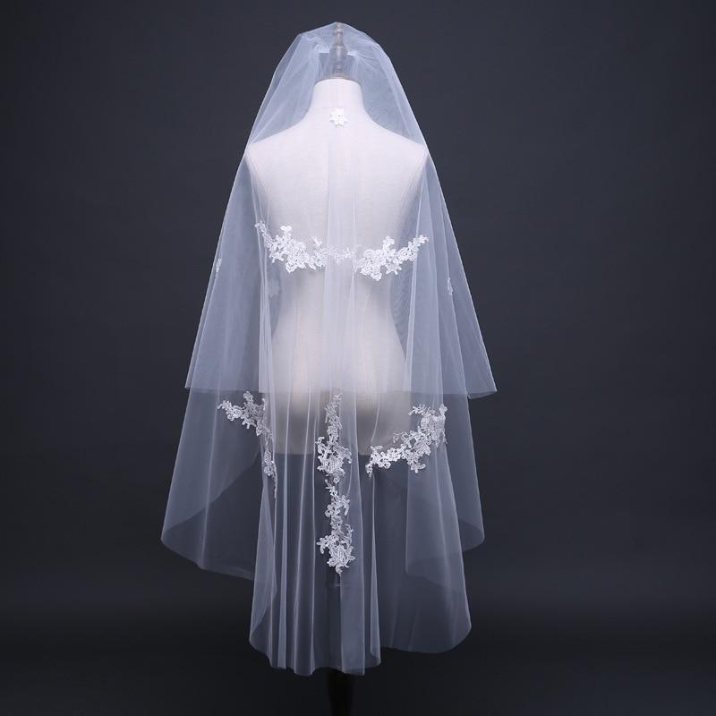 Simple Wedding Veil Cut Edge Wedding Accessories Ivory 70cm+120cm Two Layers Appliqued Bridal Veil 2020 New
