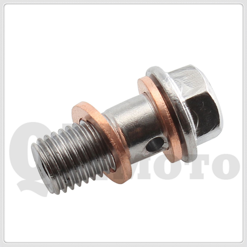 Long 22mm Sliver M10 x 1.25 Banjo Bolt W/ Copper Crush Brake Master Cylinders Calip For H O N D A /Kawasaki/Y A M A H A