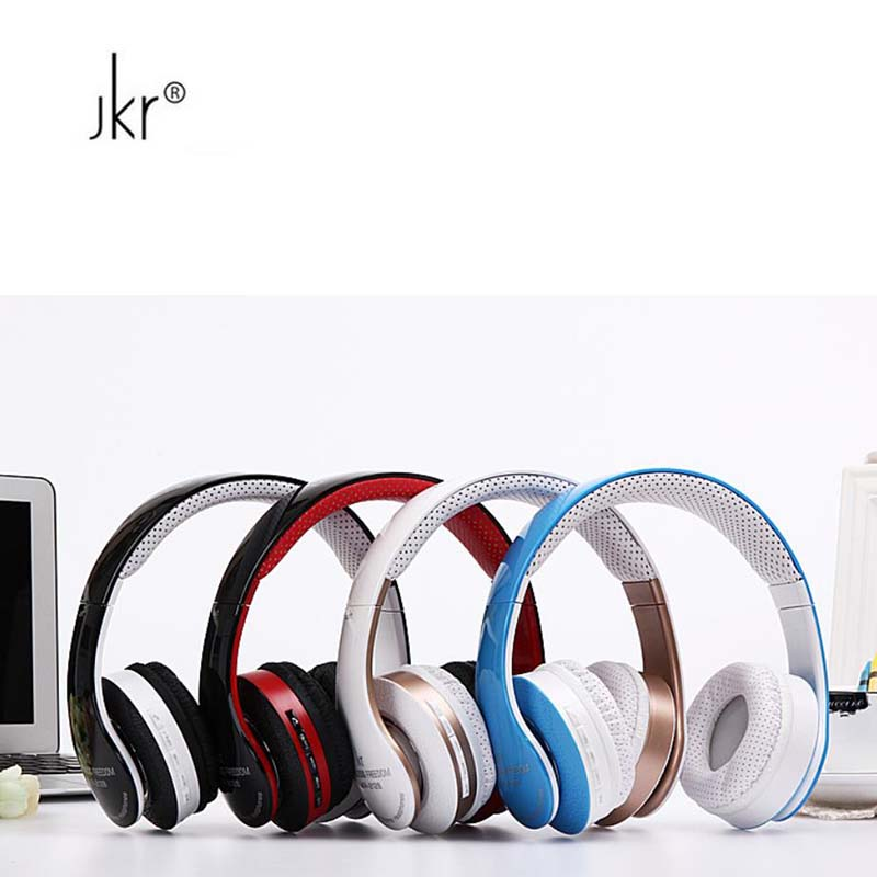 2017 Nieuwste Jkr 212b bluetooth draadloze headsets met draagbare microfoon draagbare hoofdtelefoon tf muziek houder fm voor ipod mo-in Bluetooth Oordopjes & Koptelefoon van Consumentenelektronica op  Groep 1