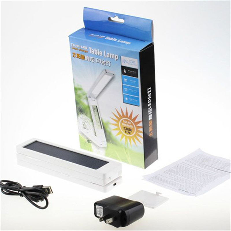 Solar Powered LED Solar Panel Table Light Mobile Power Chargeable Calendar Touchable Gar ...
