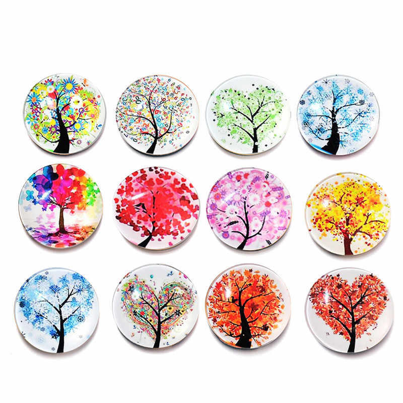 New arrival 12pcs/set Abstract Tree Refrigerator Magnets Life Tree Landscape Tree Rhinestone Crystal Glasses Stickers home decor
