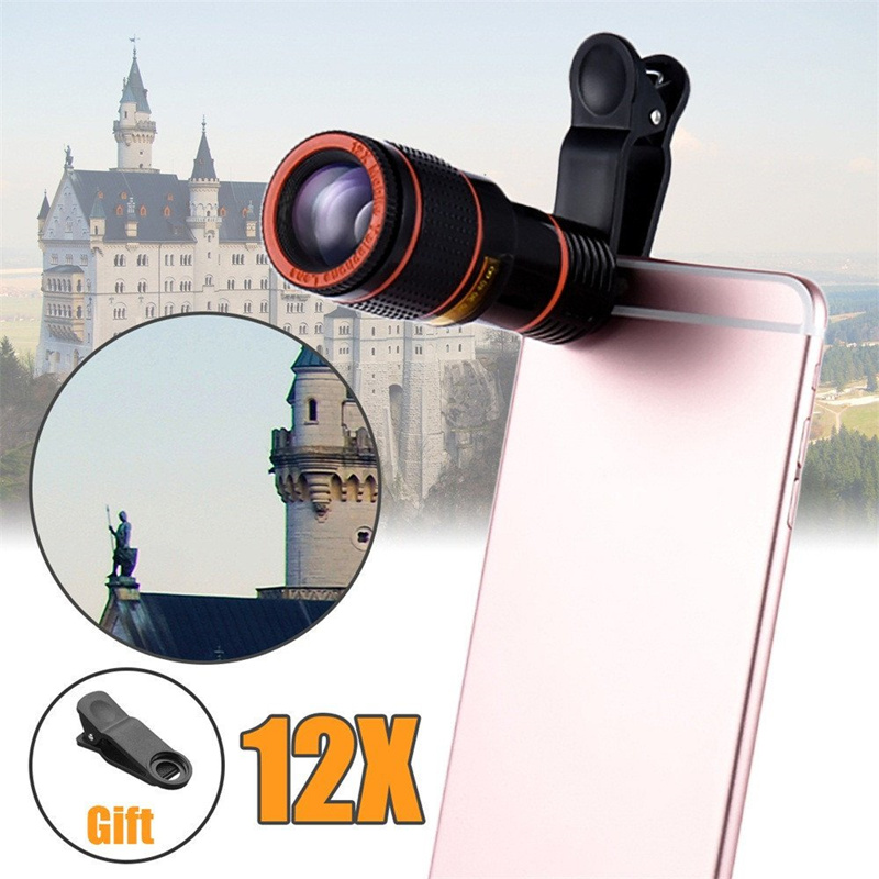 Telephoto Lens Monocular Telescope Phone Universal Optical 8x 12x Zoom Phone Camera Telescope Lens With Clip For Smartphone(China)