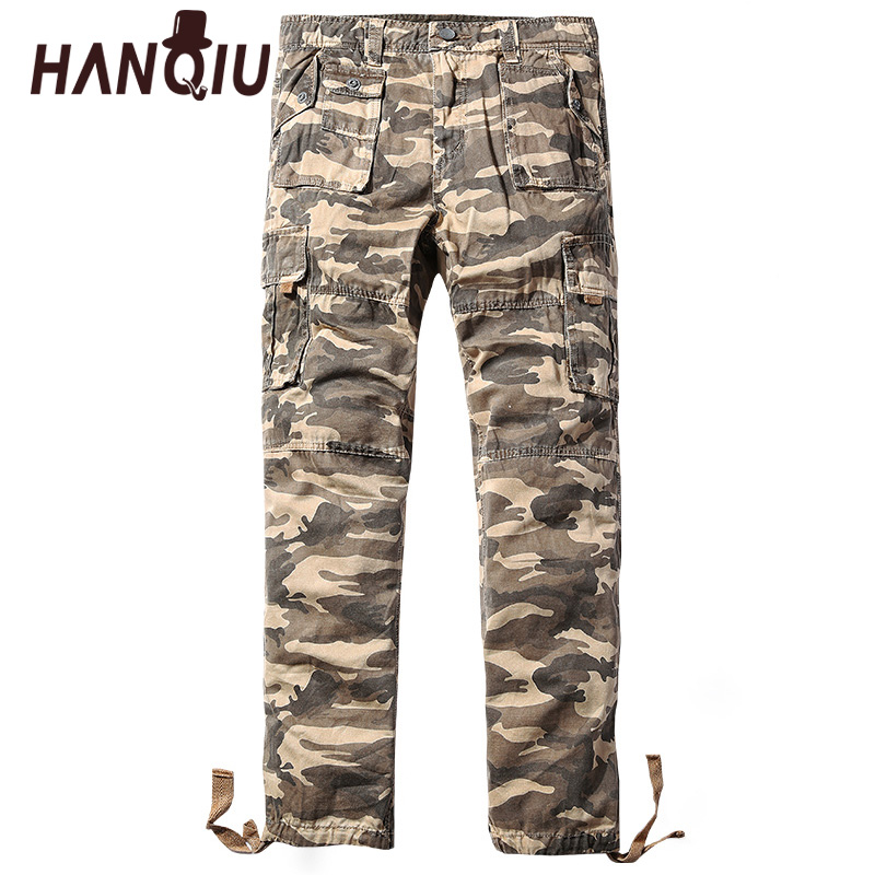 HANQIU Camouflage Trousers Cargo-Pants Military Loose Tactical Male Fashion Mid Cotton