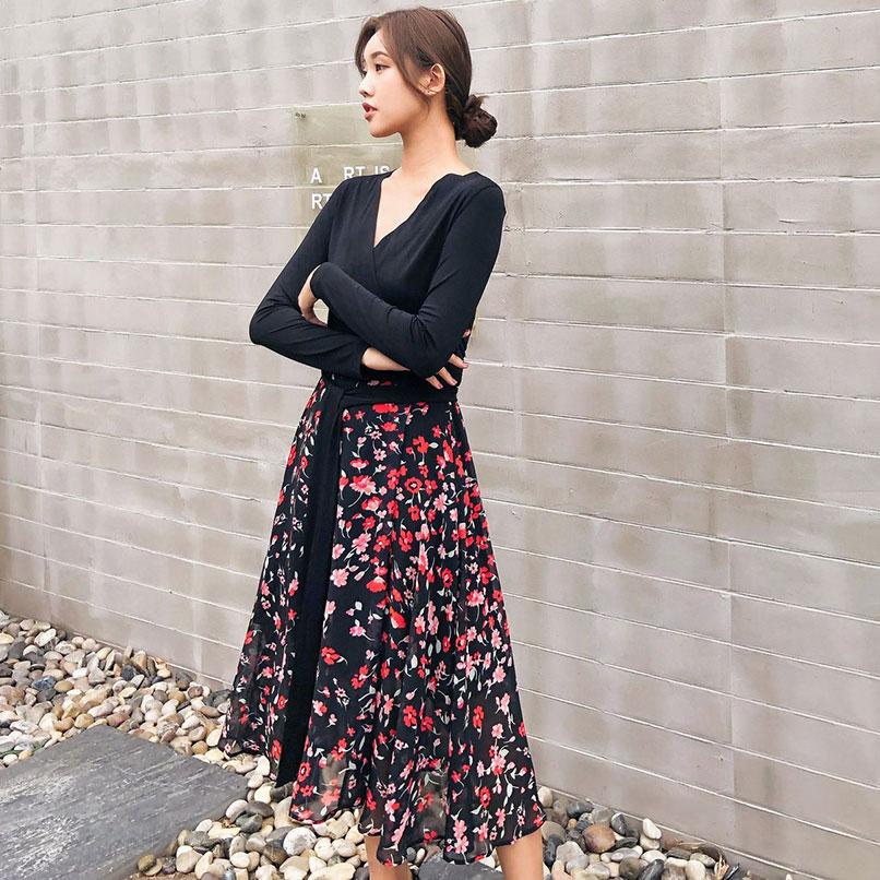 V Longue Femmes Wrap Pièce Plage Robe D'une 2019 Robes Multi Printemps Floral Dames neck Manches Seule Pleine OPnw0k