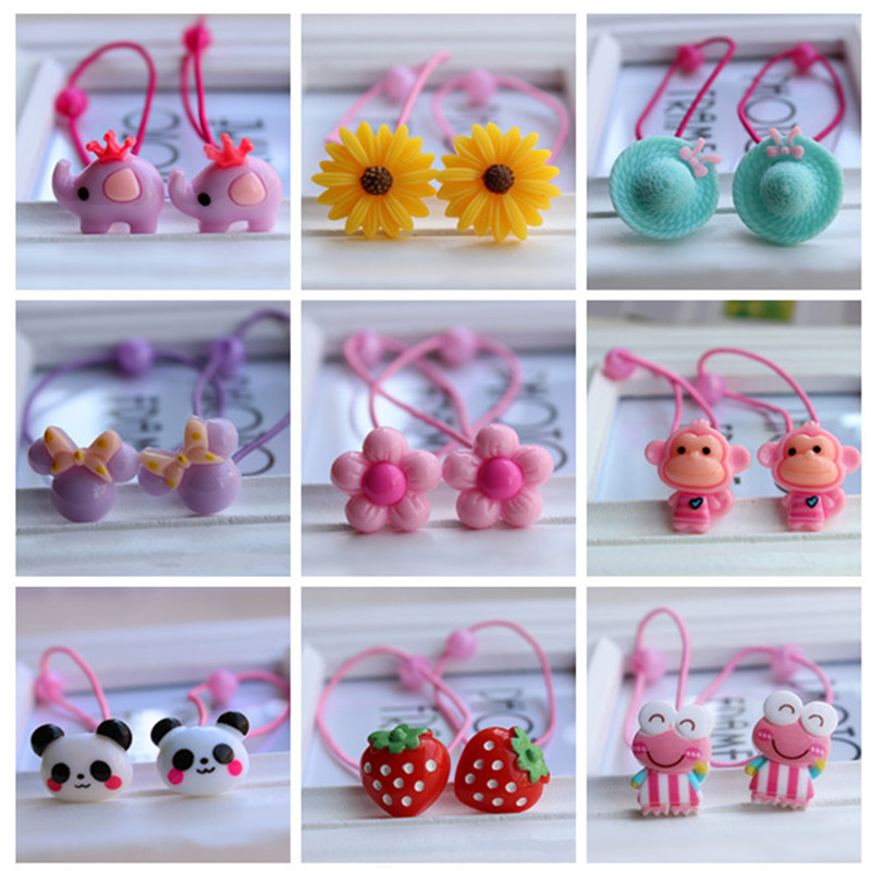 6Pcs Fashion Cartoon Headband Korean Flower Fruit Kids Elastic Hair Bands Accessories for Girls Hair Rope Tie Gum   Headwear   Gift