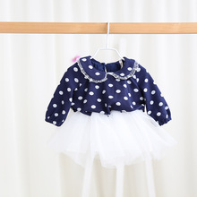 Free shipping 2 colors 2017 Spring baby girls dot dress girls fashion dress children clothes long sleeve wholesale 17021107