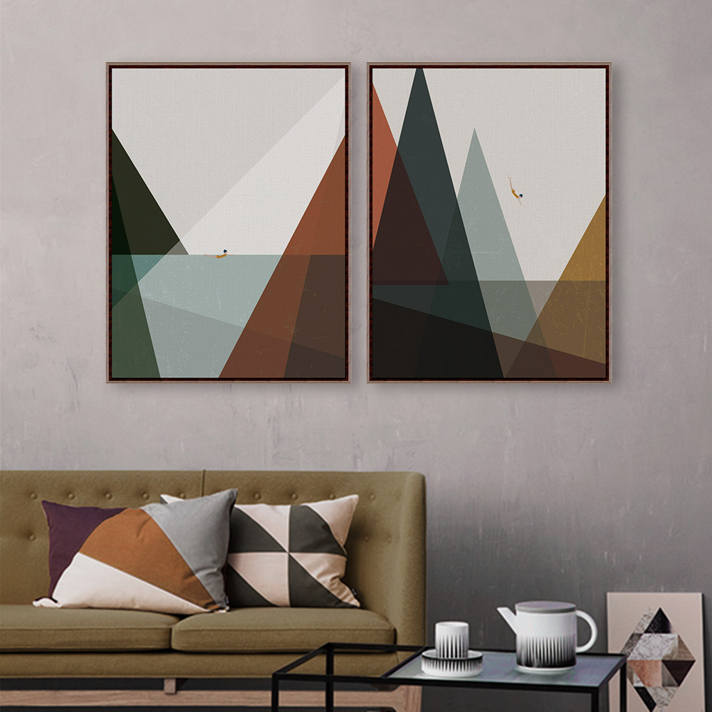 Buy modern nordic abstract landscape mountain sea vintage retro print poster Canvas prints for living room