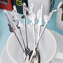 1 шт., ложка из нержавеющей стали для кофе и чая, музыкальный символ, длинная ручка, креативная ложка, питьевые инструменты, кухонный гаджет, столовые приборы, посуда