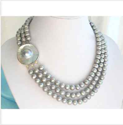 triple strands AAA++ 9-10mm Tahitian round silver grey pearl necklace 181920>Selling jewerly free shippingtriple strands AAA++ 9-10mm Tahitian round silver grey pearl necklace 181920>Selling jewerly free shipping