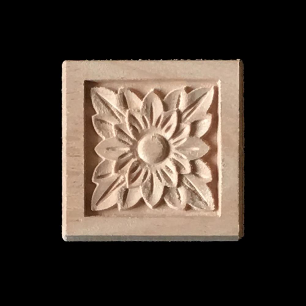 10pcs flower wood carving furniture cabinet door wood applique home
