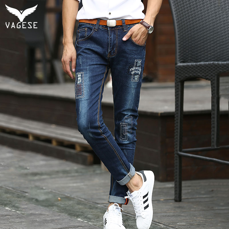 ФОТО New Designer Ripped Jeans for Men VAGESE Men Jeans Ripped Biker Hole Denim Patches Badge Straight Casual Jeans Homme