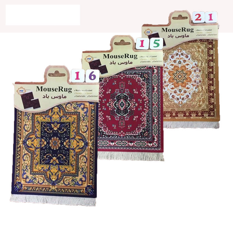 Mairuige Persian Mini Woven Rug Mat Mousepad Retro Style Carpet Pattern Cup Mouse Pad with Fring