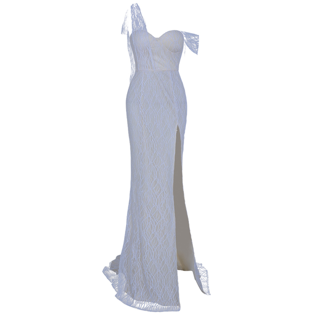 Missord 2019 Women Sexy Irregular Neck Off Shoulder High Split Dresses Female Glitter Elegant Maxi Dress   FT19562 2
