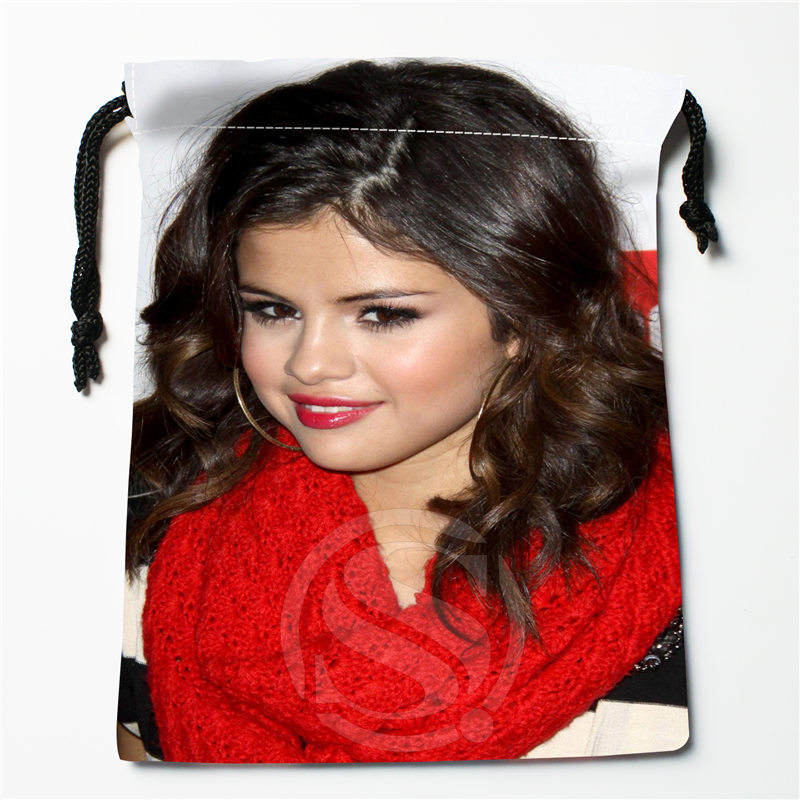 J&w107 New Selena Gomez &w Custom Printed  Receive Bag Compression Type Drawstring Bags Size 18X22cm W725&107gDW