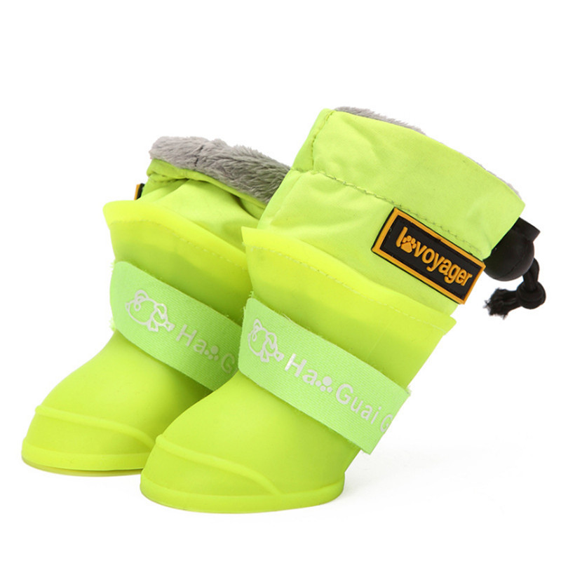 Dog Rain Boots For Small Medium Dogs Waterproof Dog Shoes Winter Warm Puppy Snow Boots Fleece Soft Silicon Adjustable Anti-Slip