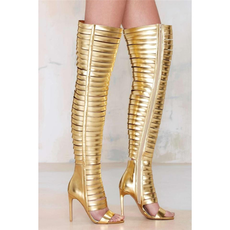 Summer Stylish Gold Black Gladiator Thigh High Boots Open Toe Cut out Over The Knee Sandals Boots Party High Heels Shoes Women