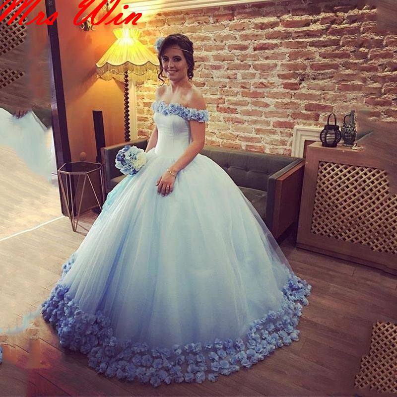 Floral Bridal Dresses Romantic Wedding Gowns Lace Up