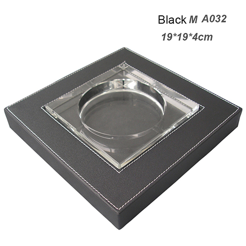 Крытый пепельница Творческий дом для офиса практическая курение аксессуары, из искусственной кожи квадратная Хрустальная пепельница для сигаретного пепла чехол гаджеты - Цвет: A032 Black L size