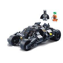 325 sztuk superbohater Batman ciężarówka wyścigowa samochód klasyczne klocki kompatybilne z Lepining Batman DIY zestaw zabawek z 2 figurami