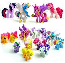 12 pçs/lote Unicorn Cavalo Figuras de Ação & Toy Brinquedos Hobbies & Cavalo Dos Desenhos Animados Figura de Ação Brinquedos