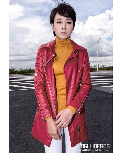 ENJOY PLUS 10%OFF chest 86-102cm S-XXL autumn winter 2016 faux pu black red long leather trench coat women big size female brand