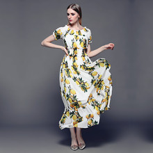 High Quality New 2016 Runway Brand Summer Maxi Dress Women's Slash neck Off the Shoulder Casual White Lemon Print Long Dress