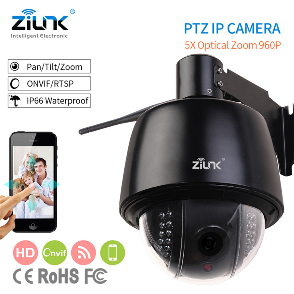 ZILNK Speed Dome IP Camera Wifi Wireless Outdoor PTZ 2.8-12mm Auto-Focus 5x Zoom HD 960P Support TF Card Waterproof Onvif H.264 2016 outdoor 1080p wifi ptz camera array ir 2 8 12mm lens 4x optical zoom auto focus waterproof speed dome cam support sd card