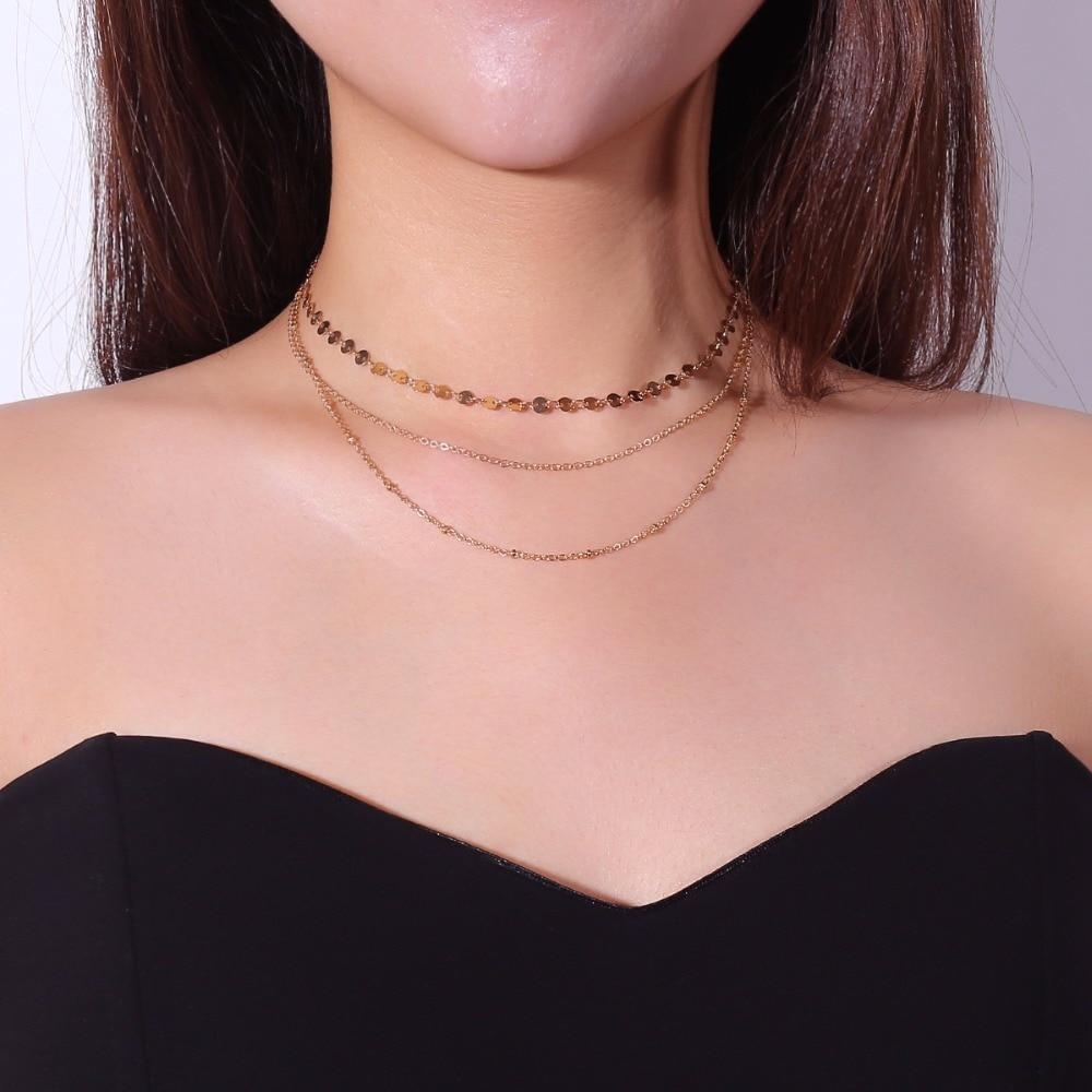layered chain choker neklace women pendant necklace fashion jewelry bijoux femme necklaces & pendants