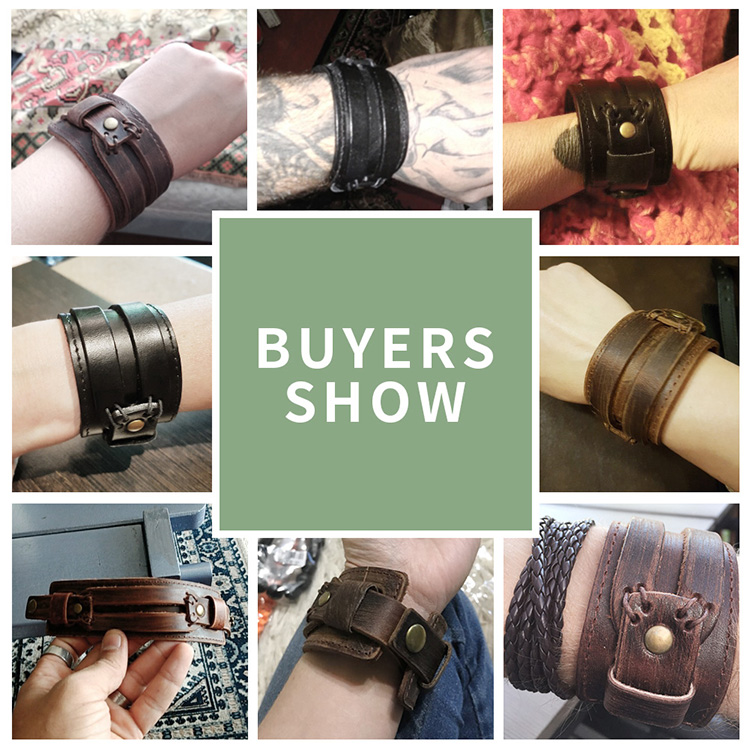 BAMOER Leather Cuff Double Wide Bracelet Rope Bangles Brown for Men Fashion Man Bracelet Unisex Jewelry Gift PI0296 HTB1kgEsdaLN8KJjSZFGq6zjrVXaO