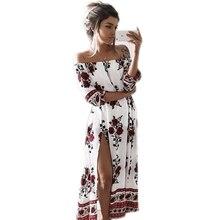 2017 summer women s print slash neck off shoulder bohemian beach dress casual long maxi high
