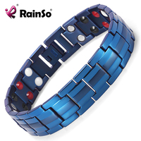 Rainso Double Row Germanium FIR Negative Ions And Magnetic 4 Elements Titanium Bracelet For Men Accessory