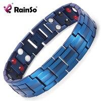 Rainso Double Row Germanium FIR Negative Ions And Magnetic 4 Elements Titanium Bracelet For Men Accessory